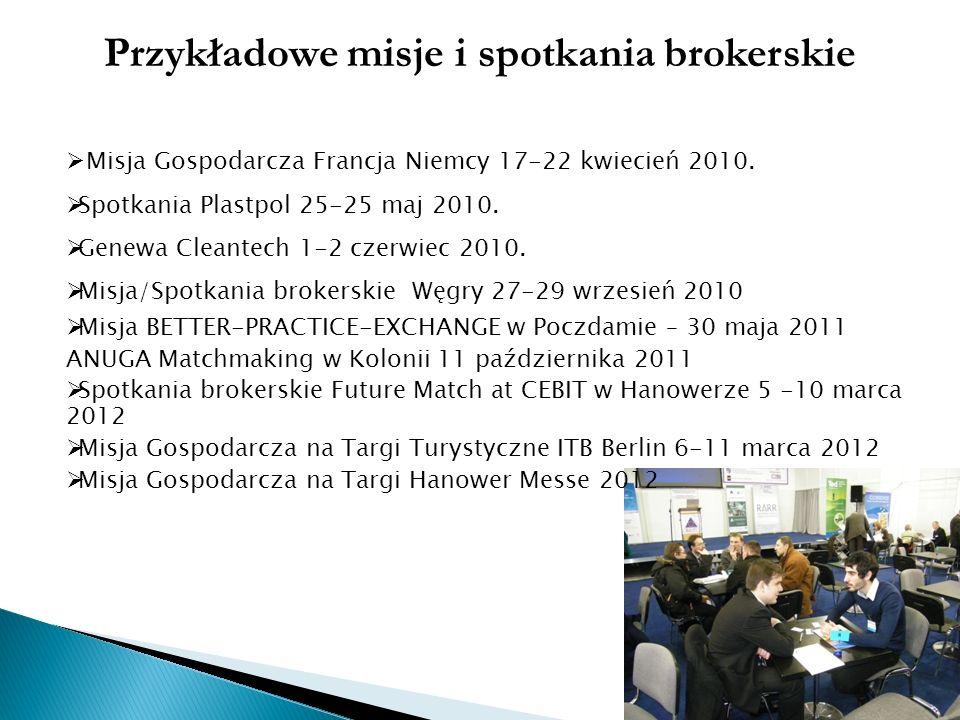 Przykładowe misje i spotkania brokerskie Misja Gospodarcza Francja Niemcy 17-22 kwiecień 2010. Spotkania Plastpol 25-25 maj 2010. Genewa Cleantech 1-2