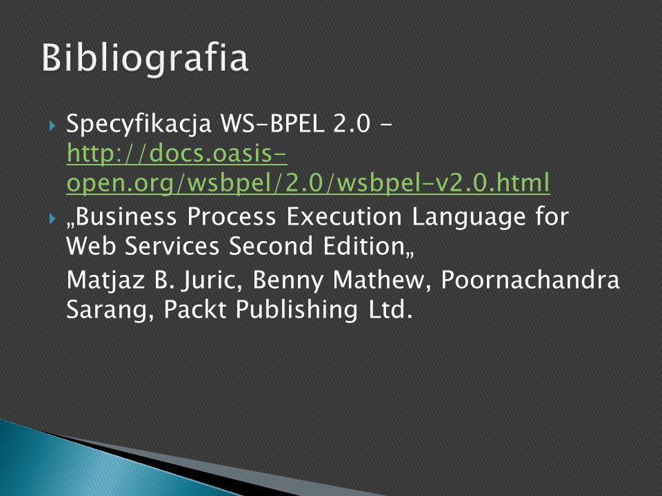 Specyfikacja WS-BPEL 2.0 - http://docs.oasis- open.org/wsbpel/2.0/wsbpel-v2.0.html http://docs.oasis- open.org/wsbpel/2.0/wsbpel-v2.0.html Business Pr