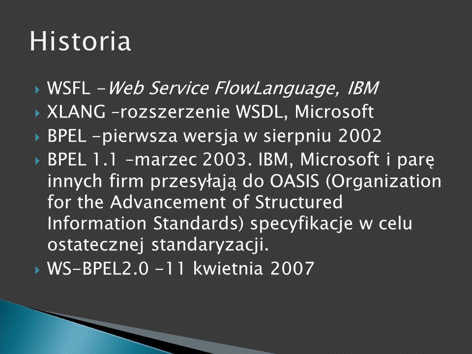 WSFL -Web Service FlowLanguage, IBM XLANG –rozszerzenie WSDL, Microsoft BPEL -pierwsza wersja w sierpniu 2002 BPEL 1.1 –marzec 2003. IBM, Microsoft i