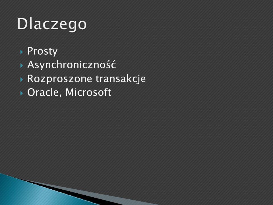 Prosty Asynchroniczność Rozproszone transakcje Oracle, Microsoft
