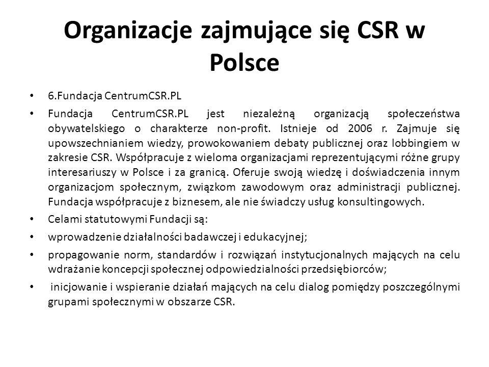 Organizacje zajmujące się CSR w Polsce 6.Fundacja CentrumCSR.PL Fundacja CentrumCSR.PL jest niezależną organizacją społeczeństwa obywatelskiego o char