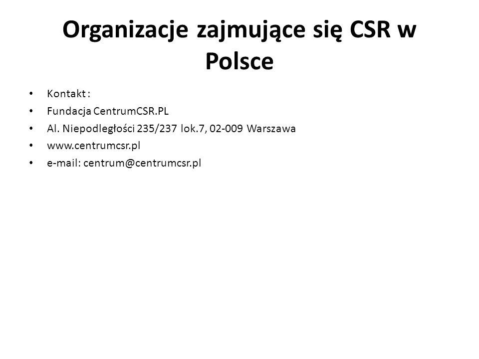 Organizacje zajmujące się CSR w Polsce Kontakt : Fundacja CentrumCSR.PL Al. Niepodległości 235/237 lok.7, 02-009 Warszawa www.centrumcsr.pl e-mail: ce