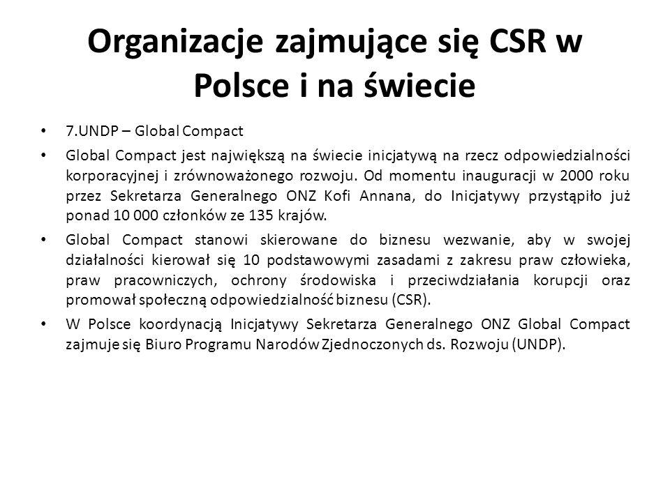Organizacje zajmujące się CSR w Polsce i na świecie 7.UNDP – Global Compact Global Compact jest największą na świecie inicjatywą na rzecz odpowiedzial