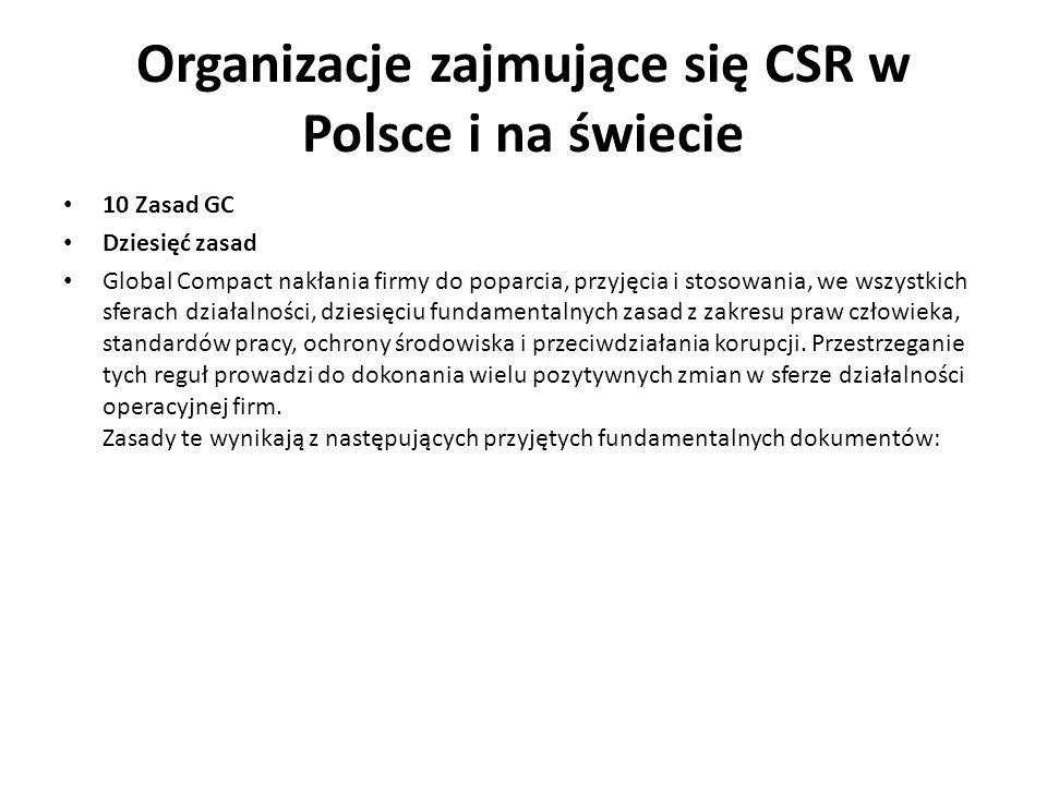Organizacje zajmujące się CSR w Polsce i na świecie 10 Zasad GC Dziesięć zasad Global Compact nakłania firmy do poparcia, przyjęcia i stosowania, we w