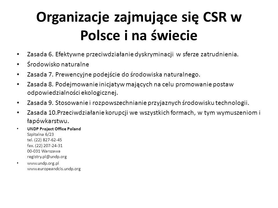 Organizacje zajmujące się CSR w Polsce i na świecie Zasada 6. Efektywne przeciwdziałanie dyskryminacji w sferze zatrudnienia. Środowisko naturalne Zas
