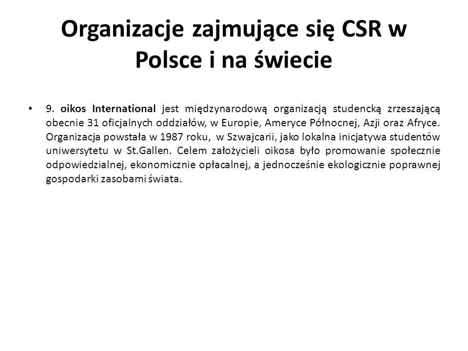 Organizacje zajmujące się CSR w Polsce i na świecie 9. oikos International jest międzynarodową organizacją studencką zrzeszającą obecnie 31 oficjalnyc