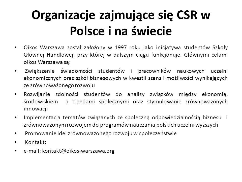 Organizacje zajmujące się CSR w Polsce i na świecie Oikos Warszawa został założony w 1997 roku jako inicjatywa studentów Szkoły Głównej Handlowej, prz