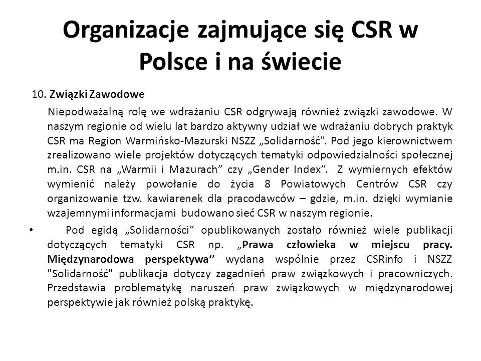 Organizacje zajmujące się CSR w Polsce i na świecie 10. Związki Zawodowe Niepodważalną rolę we wdrażaniu CSR odgrywają również związki zawodowe. W nas