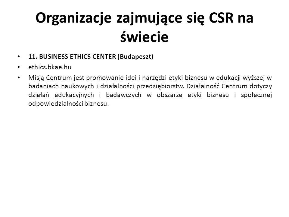 Organizacje zajmujące się CSR na świecie 11. BUSINESS ETHICS CENTER (Budapeszt) ethics.bkae.hu Misją Centrum jest promowanie idei i narzędzi etyki biz