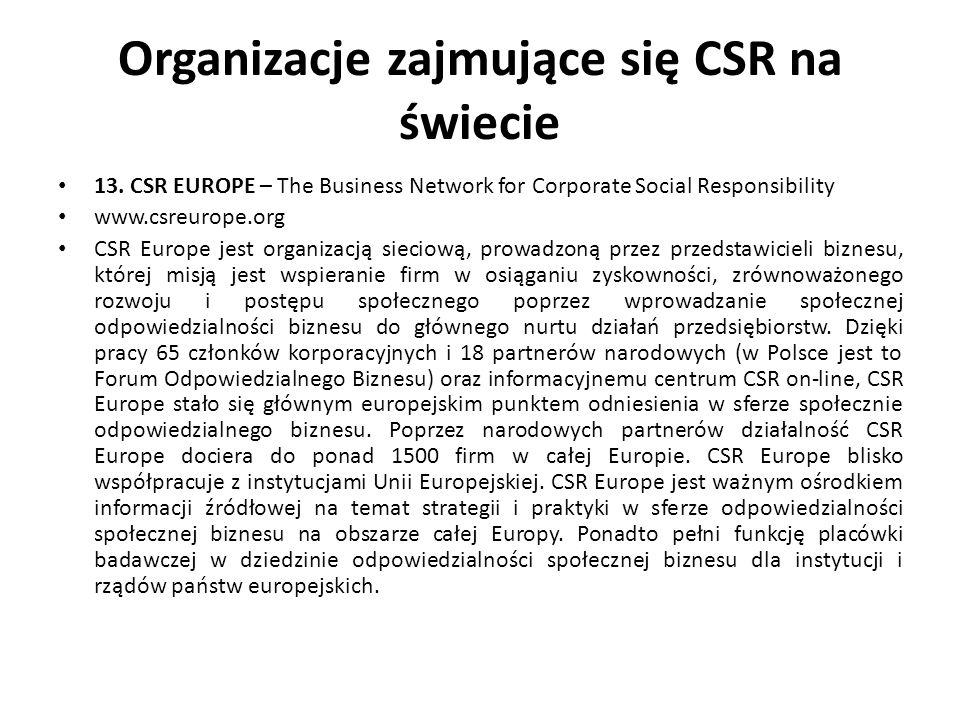 Organizacje zajmujące się CSR na świecie 13. CSR EUROPE – The Business Network for Corporate Social Responsibility www.csreurope.org CSR Europe jest o