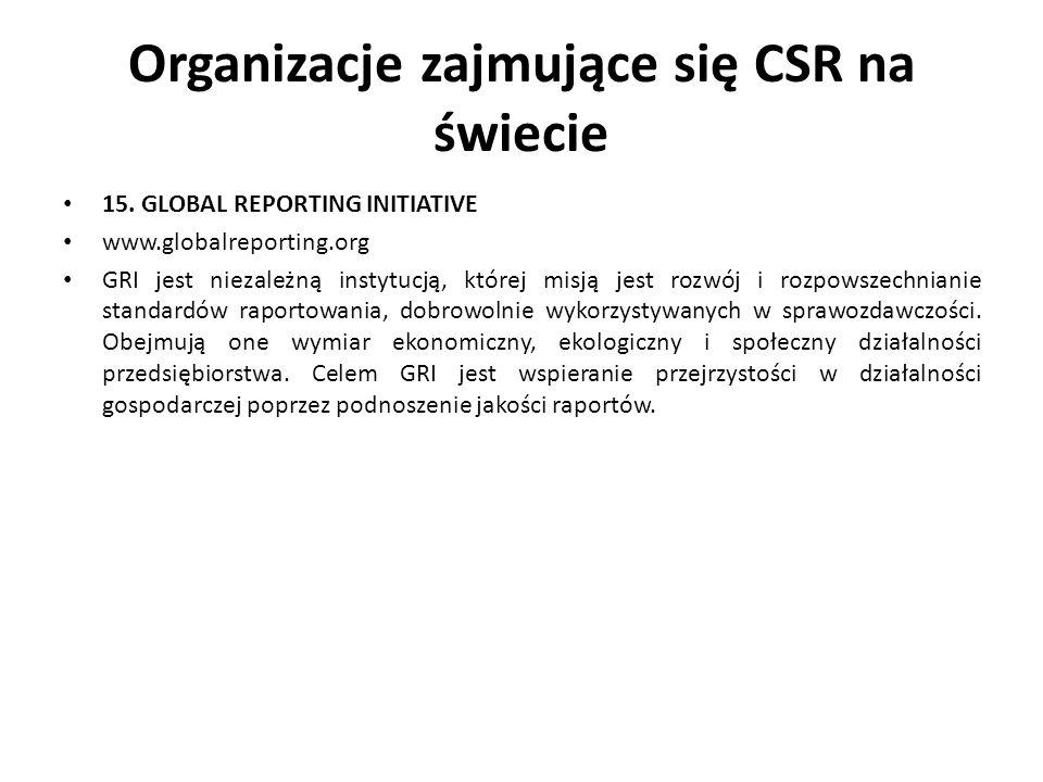 Organizacje zajmujące się CSR na świecie 15. GLOBAL REPORTING INITIATIVE www.globalreporting.org GRI jest niezależną instytucją, której misją jest roz