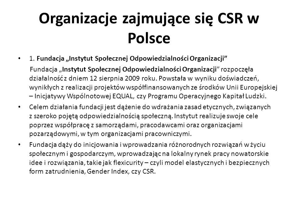 Organizacje zajmujące się CSR w Polsce 1. Fundacja Instytut Społecznej Odpowiedzialności Organizacji Fundacja Instytut Społecznej Odpowiedzialności Or