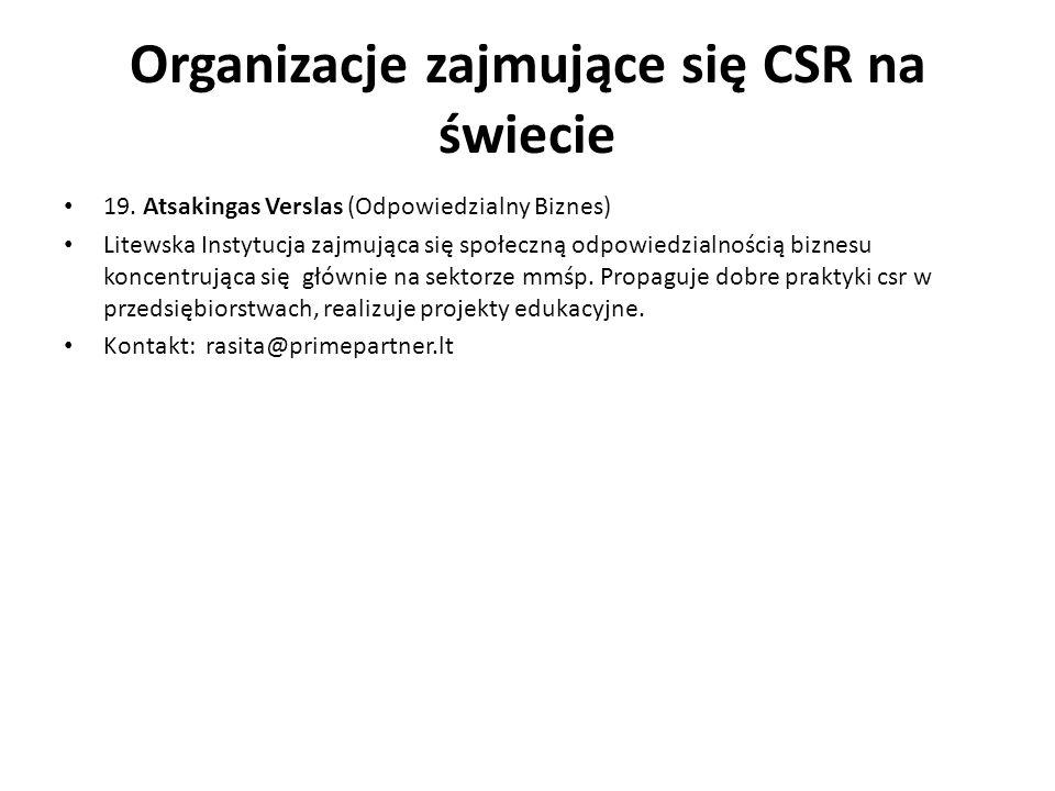 Organizacje zajmujące się CSR na świecie 19. Atsakingas Verslas (Odpowiedzialny Biznes) Litewska Instytucja zajmująca się społeczną odpowiedzialnością