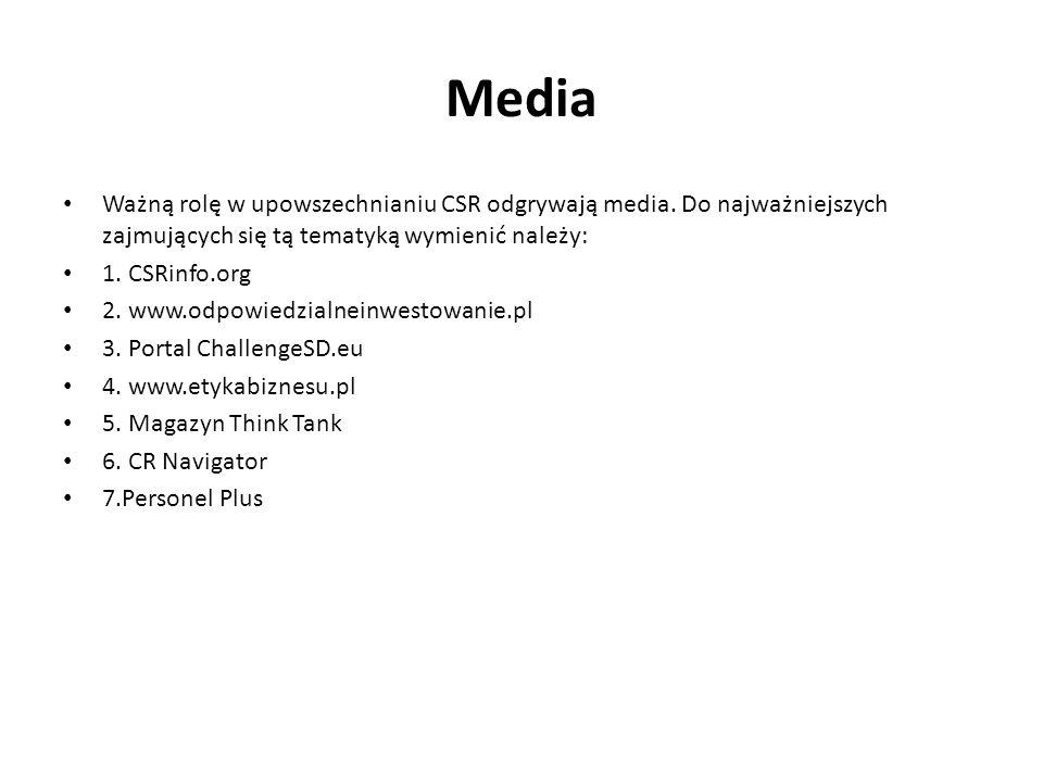 Media Ważną rolę w upowszechnianiu CSR odgrywają media. Do najważniejszych zajmujących się tą tematyką wymienić należy: 1. CSRinfo.org 2. www.odpowied
