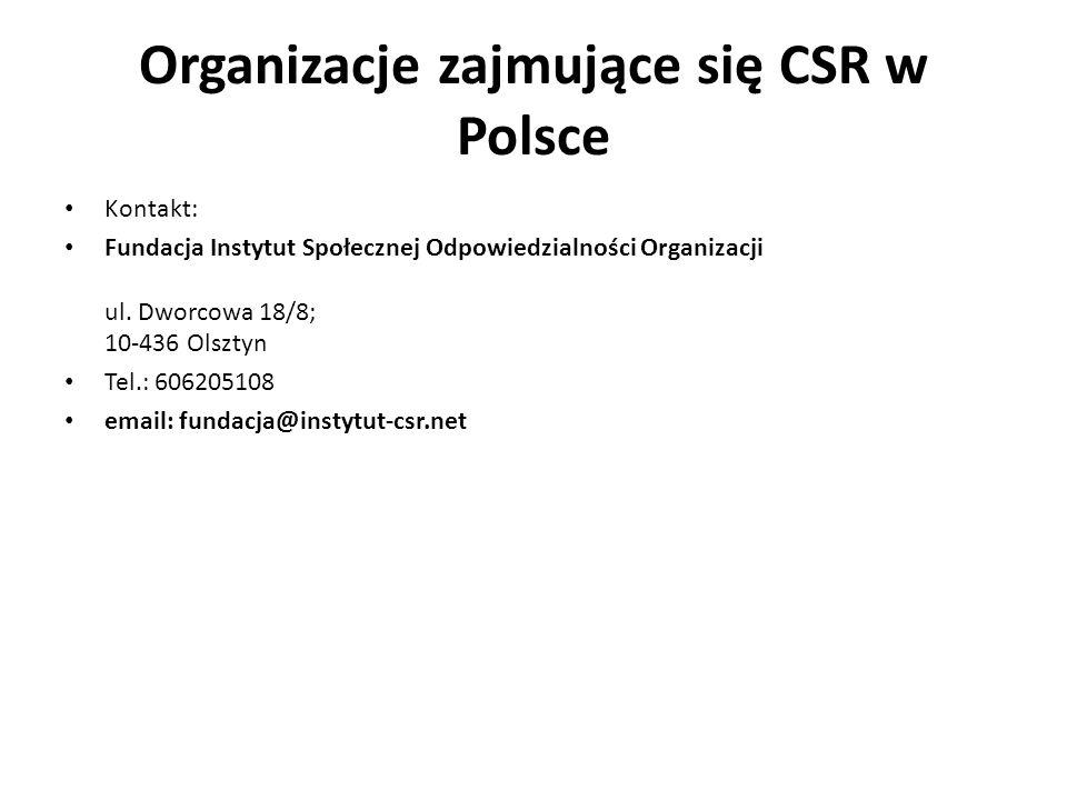 Organizacje zajmujące się CSR w Polsce Kontakt: Fundacja Instytut Społecznej Odpowiedzialności Organizacji ul. Dworcowa 18/8; 10-436 Olsztyn Tel.: 606