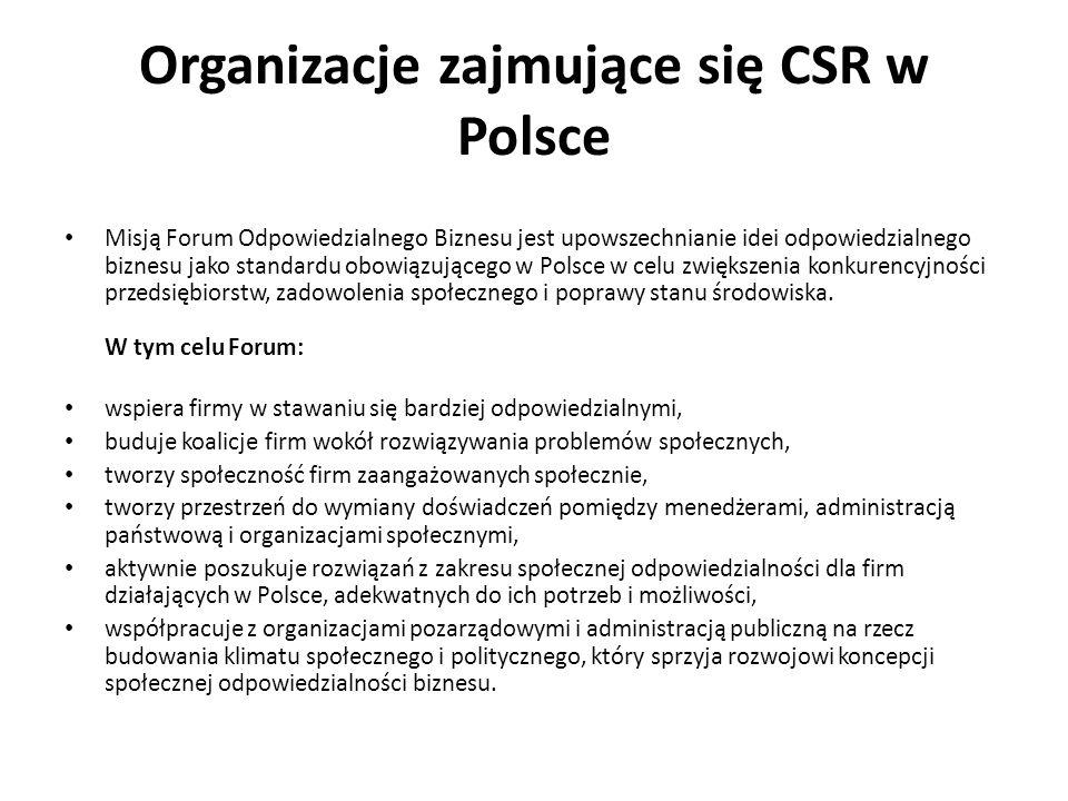 Organizacje zajmujące się CSR w Polsce Misją Forum Odpowiedzialnego Biznesu jest upowszechnianie idei odpowiedzialnego biznesu jako standardu obowiązu