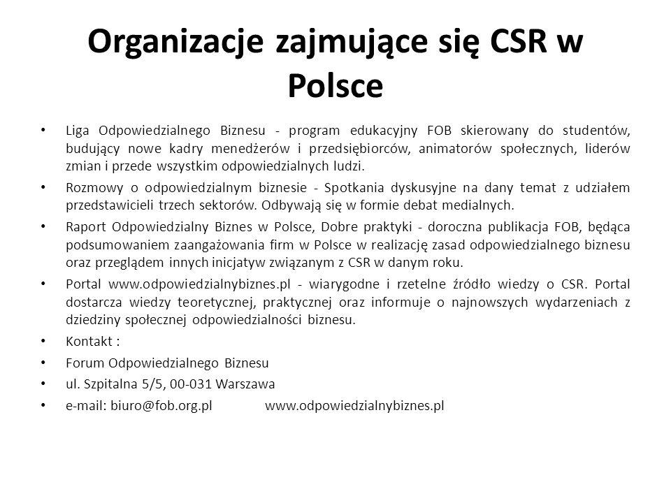 Organizacje zajmujące się CSR w Polsce Liga Odpowiedzialnego Biznesu - program edukacyjny FOB skierowany do studentów, budujący nowe kadry menedżerów
