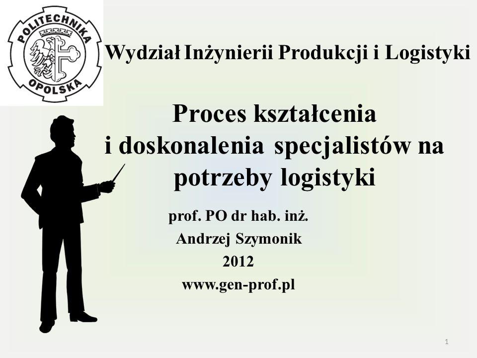 Wydział Inżynierii Produkcji i Logistyki Proces kształcenia i doskonalenia specjalistów na potrzeby logistyki prof. PO dr hab. inż. Andrzej Szymonik 2