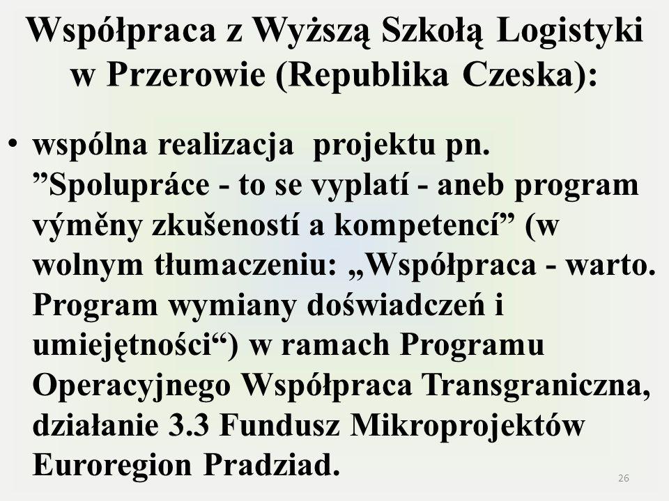 Współpraca z Wyższą Szkołą Logistyki w Przerowie (Republika Czeska): wspólna realizacja projektu pn. Spolupráce - to se vyplatí - aneb program výměny