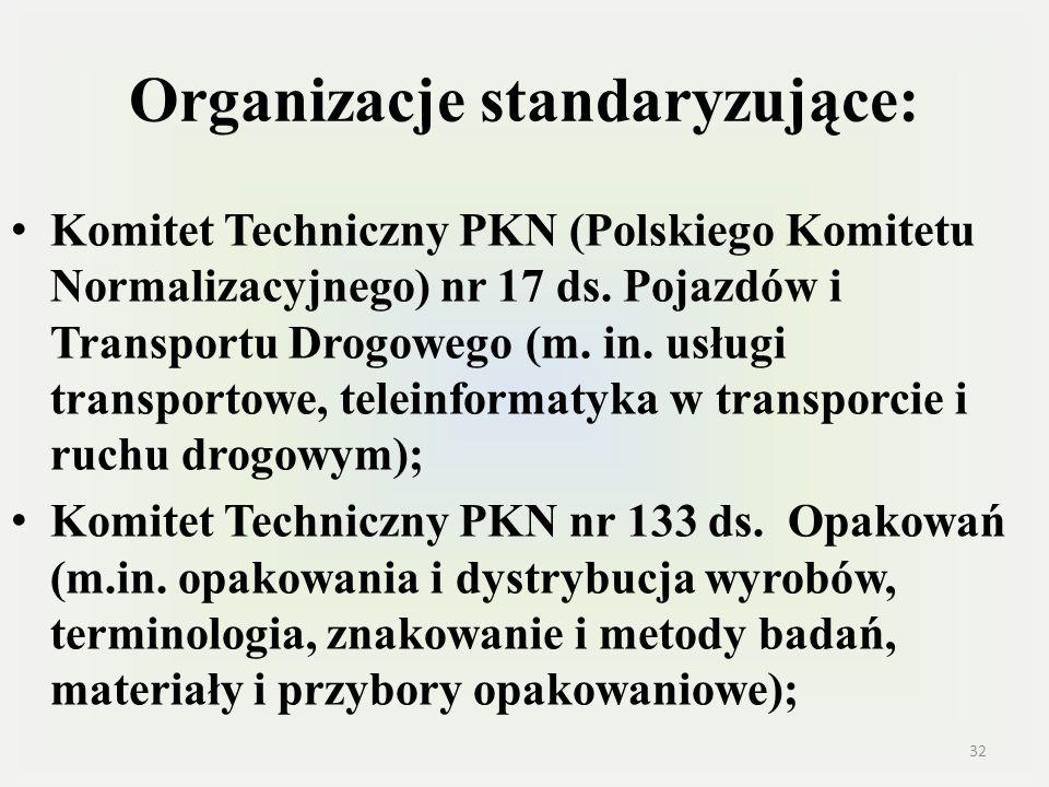 Organizacje standaryzujące: Komitet Techniczny PKN (Polskiego Komitetu Normalizacyjnego) nr 17 ds. Pojazdów i Transportu Drogowego (m. in. usługi tran