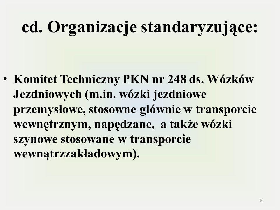 cd. Organizacje standaryzujące: Komitet Techniczny PKN nr 248 ds. Wózków Jezdniowych (m.in. wózki jezdniowe przemysłowe, stosowne głównie w transporci