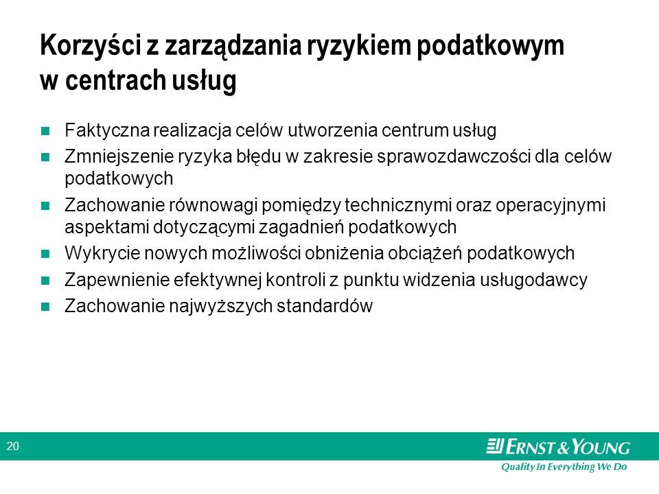20 Korzyści z zarządzania ryzykiem podatkowym w centrach usług Faktyczna realizacja celów utworzenia centrum usług Zmniejszenie ryzyka błędu w zakresi