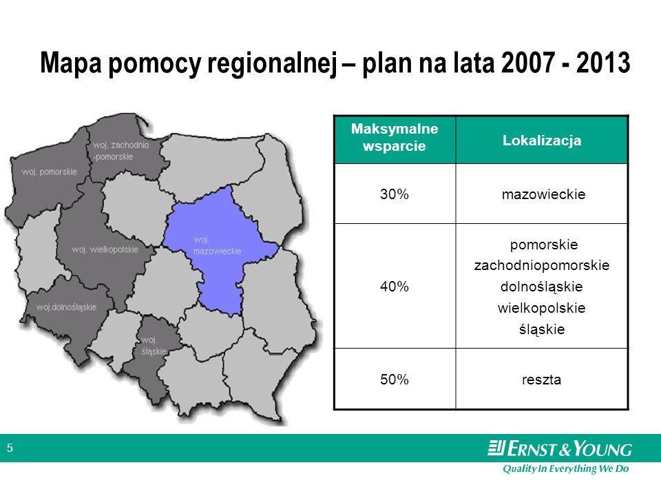 5 Mapa pomocy regionalnej – plan na lata 2007 - 2013 Maksymalne wsparcie Lokalizacja 30% mazowieckie 40% pomorskie zachodniopomorskie dolnośląskie wie