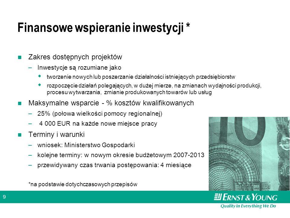 9 Finansowe wspieranie inwestycji * Zakres dostępnych projektów –Inwestycje są rozumiane jako tworzenie nowych lub poszerzanie działalności istniejący