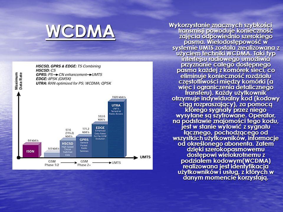WCDMA Wykorzystanie znacznych szybkości transmisji powoduje konieczność zajęcia odpowiednio szerokiego pasma. Wielodostępowość w systemie UMTS została