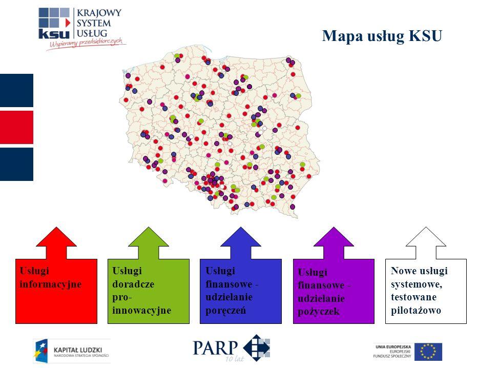 Mapa usług KSU Usługi finansowe - udzielanie pożyczek Usługi informacyjne Usługi doradcze pro- innowacyjne Usługi finansowe - udzielanie poręczeń Nowe