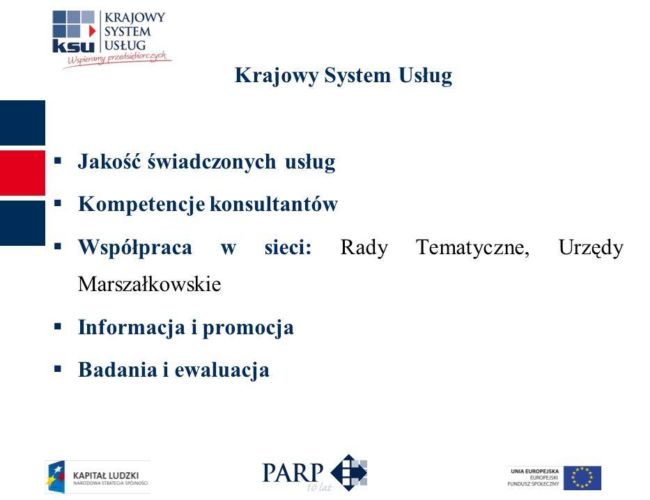 Krajowy System Usług Jakość świadczonych usług Kompetencje konsultantów Współpraca w sieci: Rady Tematyczne, Urzędy Marszałkowskie Informacja i promoc