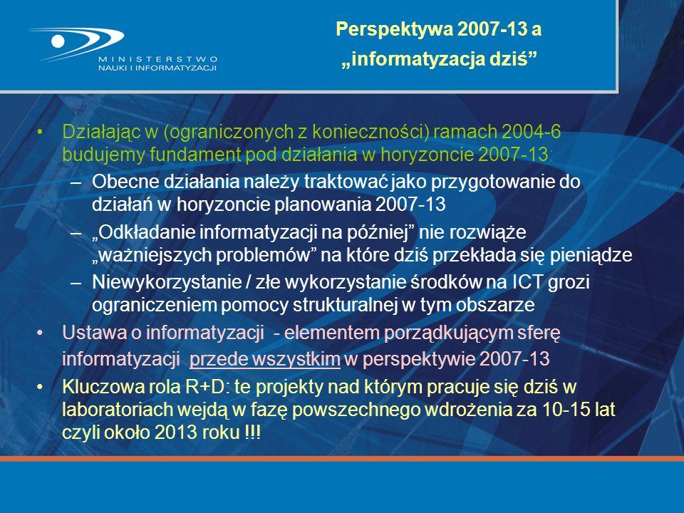 Perspektywa 2007-13 a informatyzacja dziś Działając w (ograniczonych z konieczności) ramach 2004-6 budujemy fundament pod działania w horyzoncie 2007-
