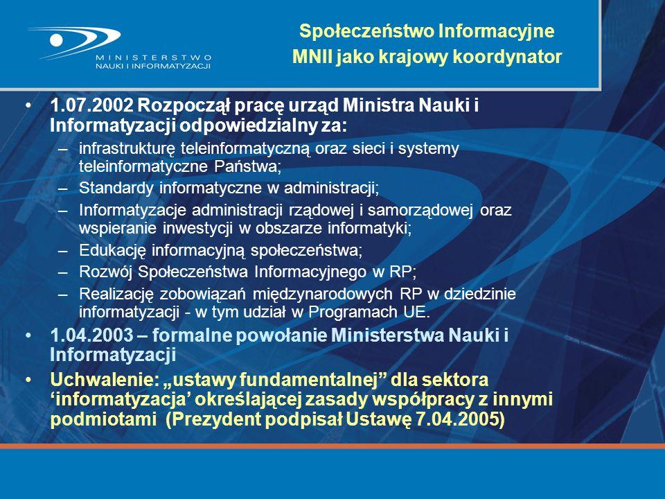 Społeczeństwo Informacyjne MNII jako krajowy koordynator 1.07.2002 Rozpoczął pracę urząd Ministra Nauki i Informatyzacji odpowiedzialny za: –infrastru