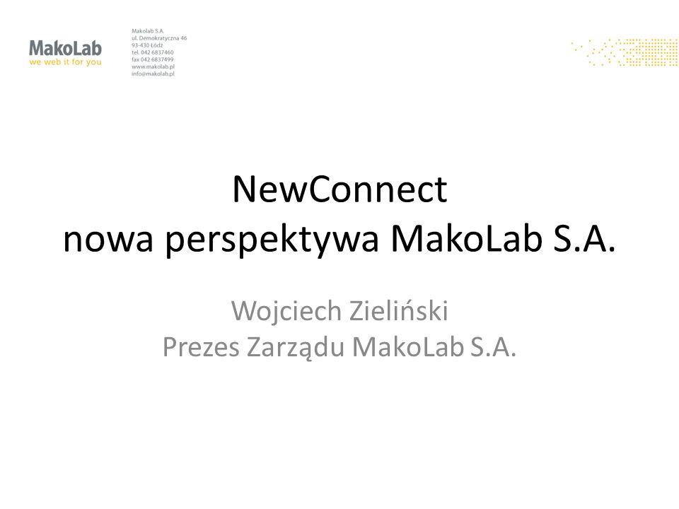NewConnect nowa perspektywa MakoLab S.A. Wojciech Zieliński Prezes Zarządu MakoLab S.A.