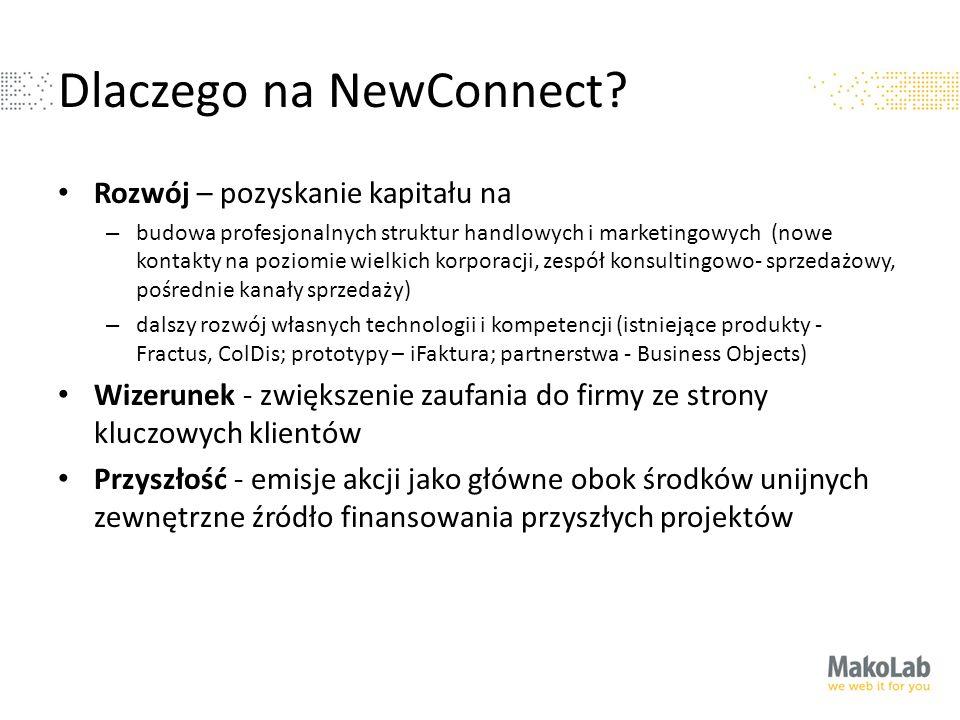 Dlaczego na NewConnect? Rozwój – pozyskanie kapitału na – budowa profesjonalnych struktur handlowych i marketingowych (nowe kontakty na poziomie wielk