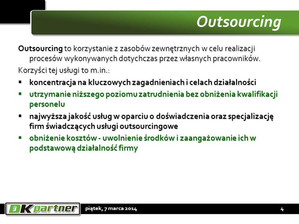 Outsourcing Outsourcing to korzystanie z zasobów zewnętrznych w celu realizacji procesów wykonywanych dotychczas przez własnych pracowników. Korzyści