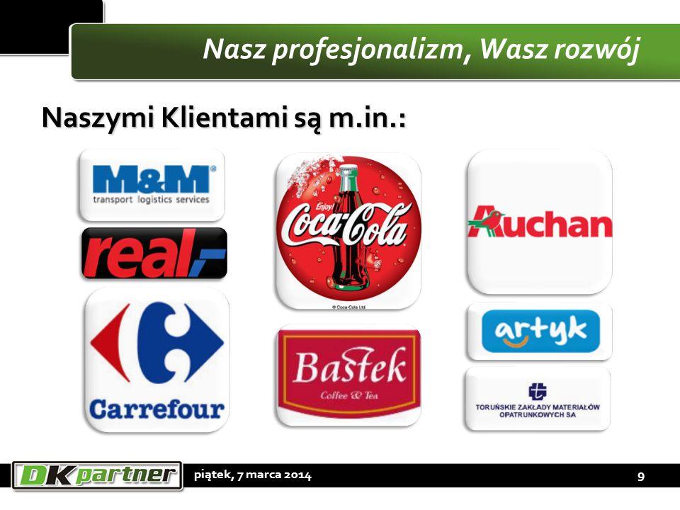 Nasz profesjonalizm, Wasz rozwój Naszymi Klientami są m.in.: piątek, 7 marca 20149
