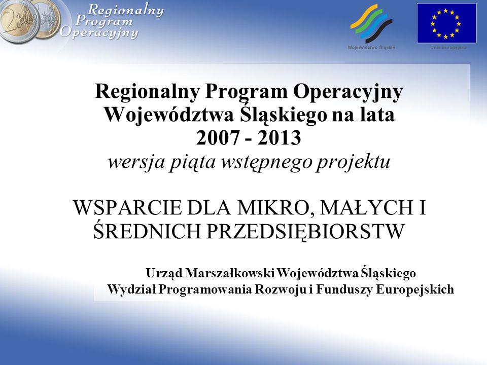 Regionalny Program Operacyjny Województwa Śląskiego na lata 2007 - 2013 wersja piąta wstępnego projektu WSPARCIE DLA MIKRO, MAŁYCH I ŚREDNICH PRZEDSIĘ