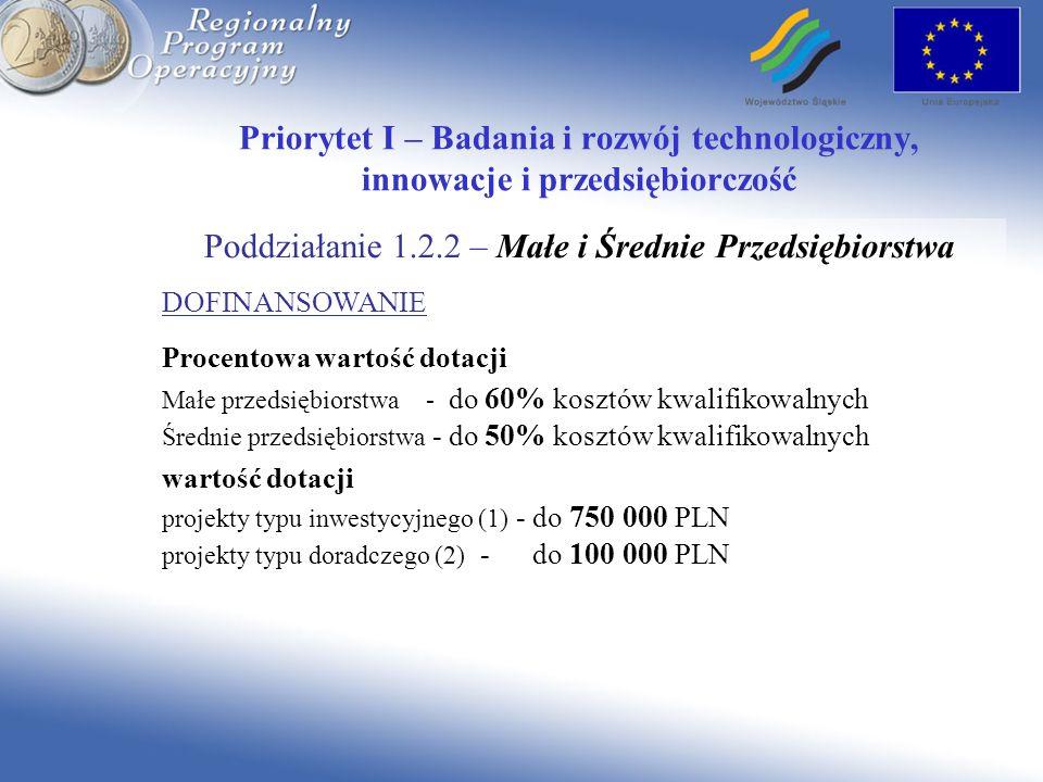 Priorytet I – Badania i rozwój technologiczny, innowacje i przedsiębiorczość Poddziałanie 1.2.2 – Małe i Średnie Przedsiębiorstwa DOFINANSOWANIE Proce