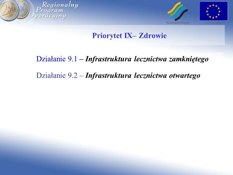 Działanie 9.1 – Infrastruktura lecznictwa zamkniętego Priorytet IX– Zdrowie Działanie 9.2 – Infrastruktura lecznictwa otwartego