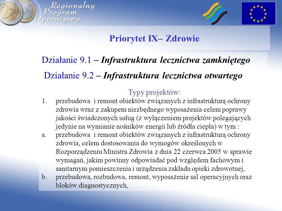 Działanie 9.1 – Infrastruktura lecznictwa zamkniętego Priorytet IX– Zdrowie Typy projektów: 1.przebudowa i remont obiektów związanych z infrastrukturą
