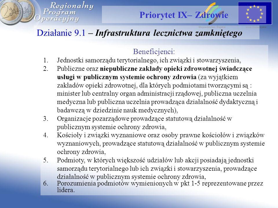 Działanie 9.1 – Infrastruktura lecznictwa zamkniętego Priorytet IX– Zdrowie Beneficjenci: 1.Jednostki samorządu terytorialnego, ich związki i stowarzyszenia, 2.Publiczne oraz niepubliczne zakłady opieki zdrowotnej świadczące usługi w publicznym systemie ochrony zdrowia (za wyjątkiem zakładów opieki zdrowotnej, dla których podmiotami tworzącymi są : minister lub centralny organ administracji rządowej, publiczna uczelnia medyczna lub publiczna uczelnia prowadząca działalność dydaktyczną i badawczą w dziedzinie nauk medycznych), 3.Organizacje pozarządowe prowadzące statutową działalność w publicznym systemie ochrony zdrowia, 4.Kościoły i związki wyznaniowe oraz osoby prawne kościołów i związków wyznaniowych, prowadzące statutową działalność w publicznym systemie ochrony zdrowia, 5.Podmioty, w których większość udziałów lub akcji posiadają jednostki samorządu terytorialnego lub ich związki i stowarzyszenia, prowadzące działalność w publicznym systemie ochrony zdrowia, 6.Porozumienia podmiotów wymienionych w pkt 1-5 reprezentowane przez lidera.