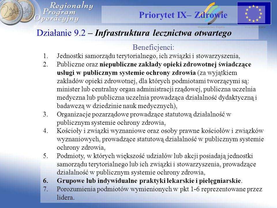 Działanie 9.2 – Infrastruktura lecznictwa otwartego Priorytet IX– Zdrowie Beneficjenci: 1.Jednostki samorządu terytorialnego, ich związki i stowarzysz