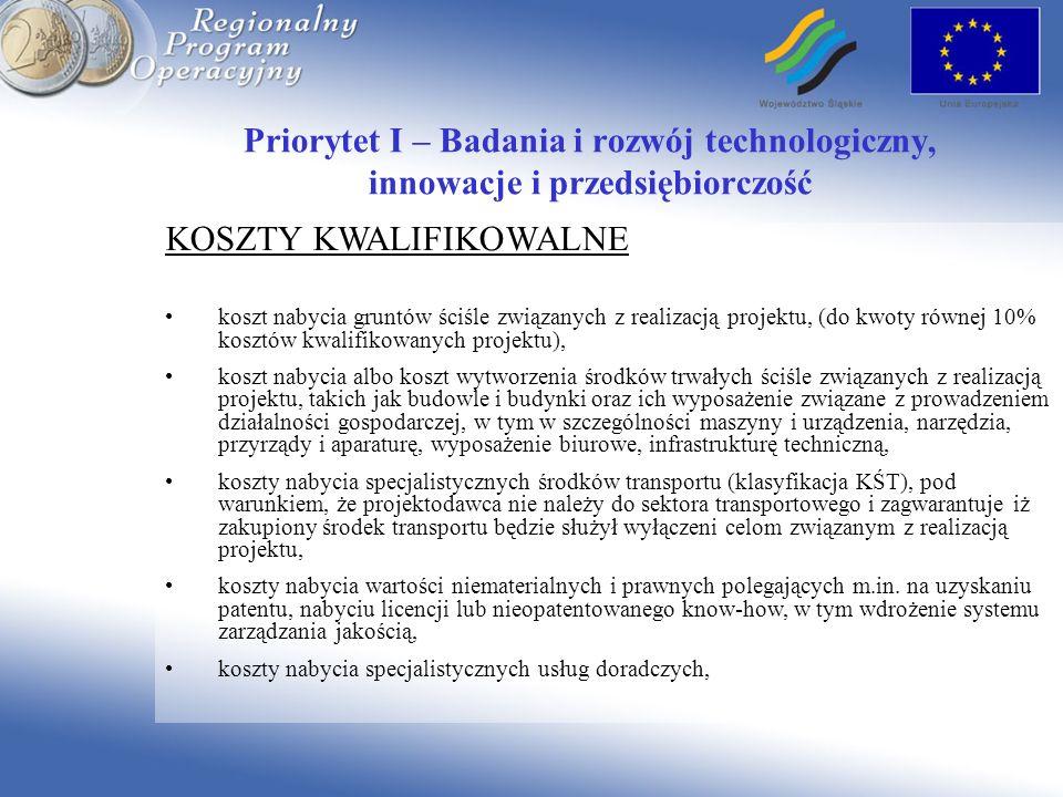 Priorytet I – Badania i rozwój technologiczny, innowacje i przedsiębiorczość KOSZTY KWALIFIKOWALNE koszt nabycia gruntów ściśle związanych z realizacj