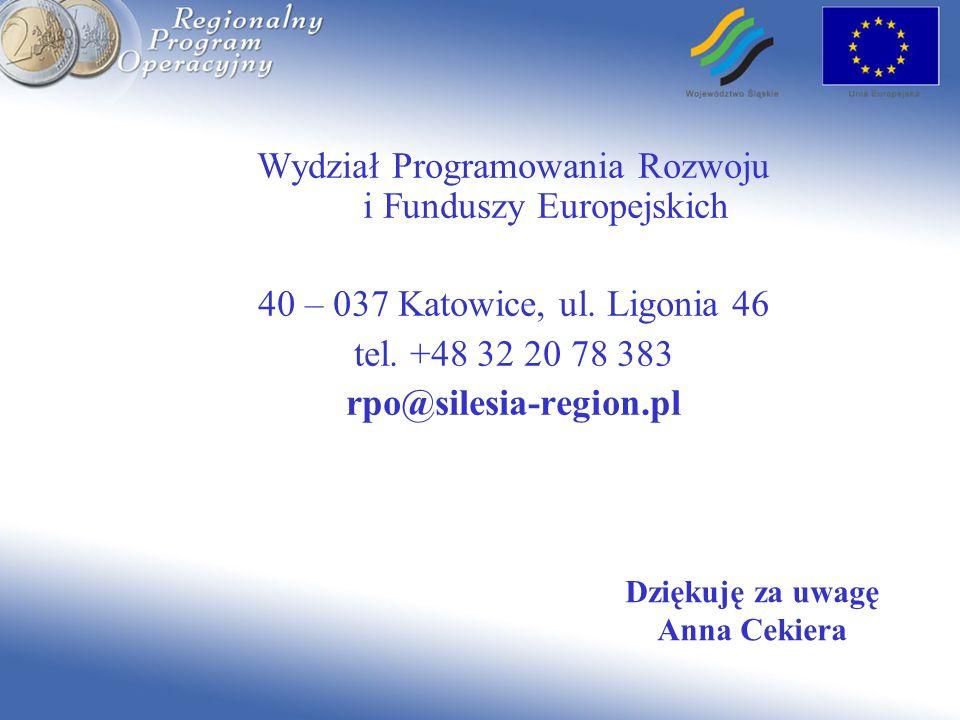 Dziękuję za uwagę Anna Cekiera Wydział Programowania Rozwoju i Funduszy Europejskich 40 – 037 Katowice, ul. Ligonia 46 tel. +48 32 20 78 383 rpo@siles