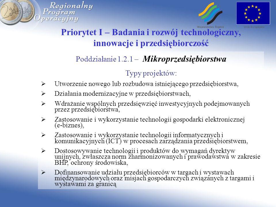 Priorytet I – Badania i rozwój technologiczny, innowacje i przedsiębiorczość Poddziałanie 1.2.1 – Mikroprzedsiębiorstwa Typy projektów: Utworzenie nowego lub rozbudowa istniejącego przedsiębiorstwa, Działania modernizacyjne w przedsiębiorstwach, Wdrażanie wspólnych przedsięwzięć inwestycyjnych podejmowanych przez przedsiębiorstwa, Zastosowanie i wykorzystanie technologii gospodarki elektronicznej (e-biznes), Zastosowanie i wykorzystanie technologii informatycznych i komunikacyjnych (ICT) w procesach zarządzania przedsiębiorstwem, Dostosowywanie technologii i produktów do wymagań dyrektyw unijnych, zwłaszcza norm zharmonizowanych i prawodawstwa w zakresie BHP, ochrony środowiska, Dofinansowanie udziału przedsiębiorców w targach i wystawach międzynarodowych oraz misjach gospodarczych związanych z targami i wystawami za granicą