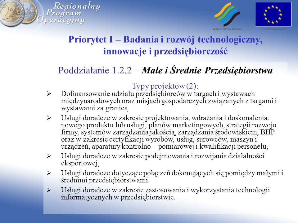Priorytet I – Badania i rozwój technologiczny, innowacje i przedsiębiorczość Poddziałanie 1.2.2 – Małe i Średnie Przedsiębiorstwa Typy projektów (2):