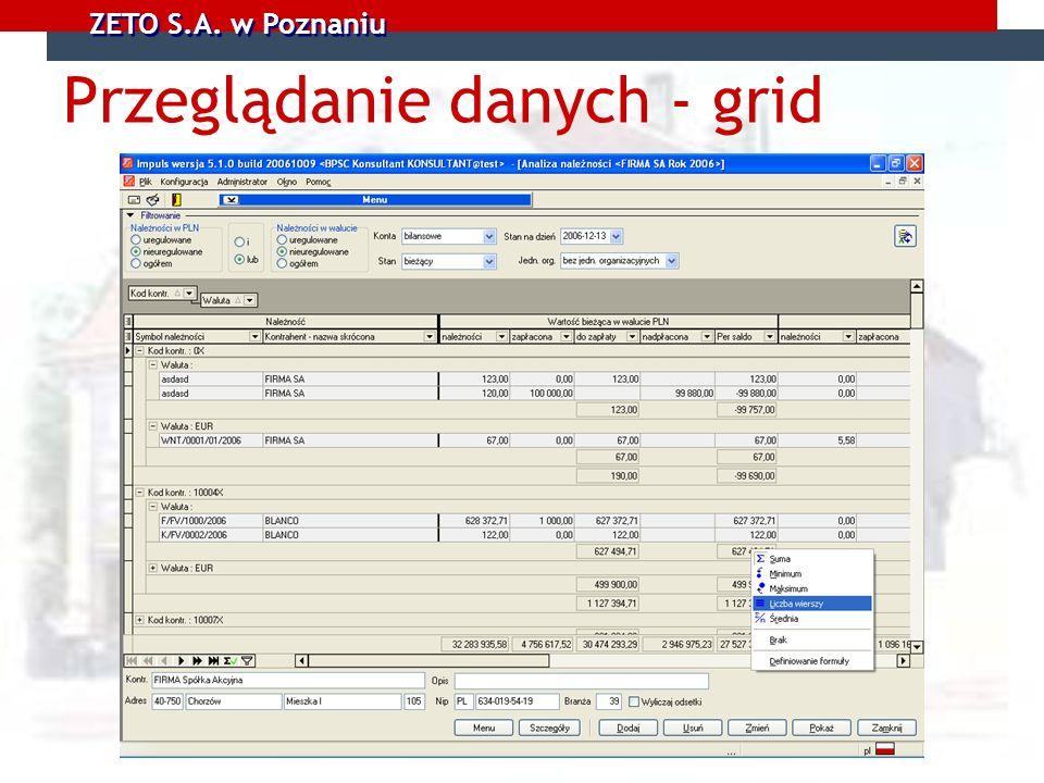 Przeglądanie danych - grid