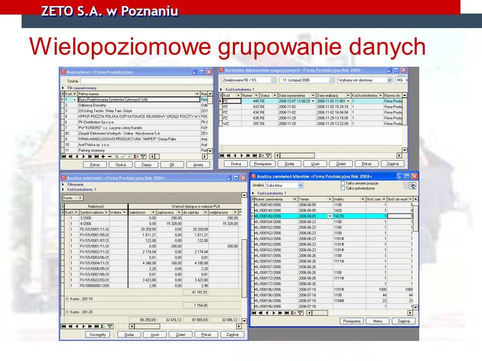 ZETO S.A. w Poznaniu Wielopoziomowe grupowanie danych