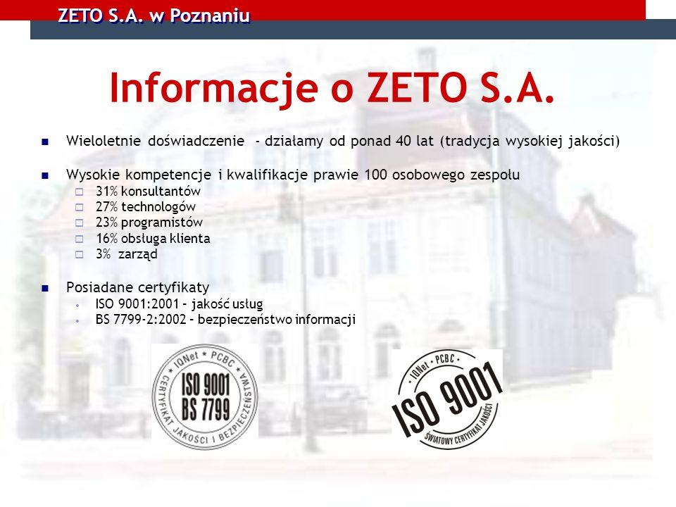 ZETO S.A. w Poznaniu Informacje o ZETO S.A. Wieloletnie doświadczenie - działamy od ponad 40 lat (tradycja wysokiej jakości) Wysokie kompetencje i kwa